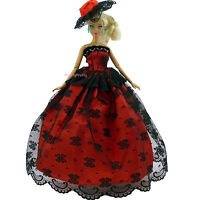 Cute Strapless Wedding Dress With Hat Party Clothes For Barbie Doll Girl Toy 140