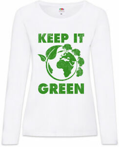 Keep It Green Damen Langarm T-Shirt World Global Warming Vegan Vegetarian - Germany, Deutschland - Keep It Green Damen Langarm T-Shirt World Global Warming Vegan Vegetarian - Germany, Deutschland