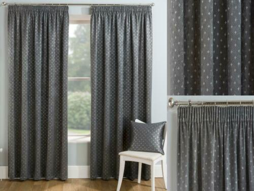 1 Pair Of Block Out Thermal Metallic GEMINI TapedTop Pencil Pleat Curtains GREY