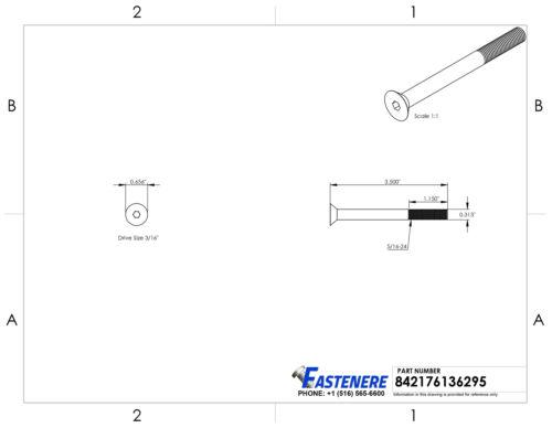 "5//16-24 x 3-1//2/"" Flat Head Socket Cap Screws Grade 8 Steel Black Oxide Qty 10"