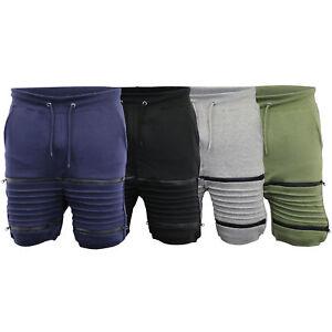 mens-jogger-sweat-shorts-knee-length-zip-jogging-ribbed-gym-fleece-lined-summer