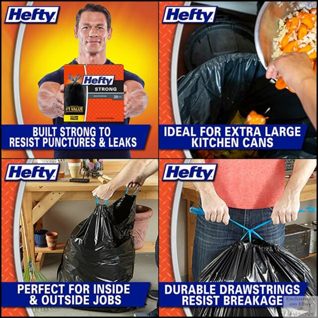 Unscented 28 CT Hefty Strong Garbage Bags Multipurpose 30 Gallon Drawstring