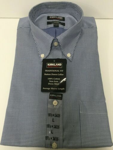 White Navy Check // Kirkland Signature Traditional Fit Button-Down Collar Shirt