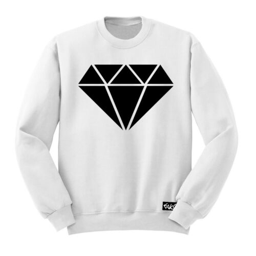 """EAKS® HERREN SWEATSHIRT /""""HIP HOP DIAMOND/"""" weiß Pullover Old School Rap-Diamant"""
