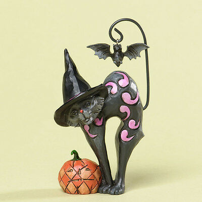 Jim Shore Miniature Halloween Black Cat w/Bat & Pumpkin Figurine ~ 4034439