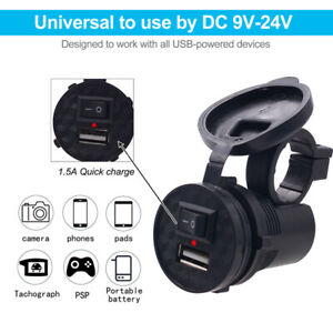 12V-USB-Waterproof-Power-Port-1-5A-Quick-Charge-Socket-For-Motorcycle-ATV-Car