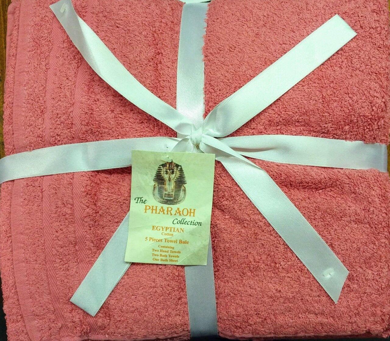 COTONE Egiziano 100% rosa di Scuro asciugamani di lusso di rosa qualità Set 5 PEZZI Bale Mani Bagno 7257ee