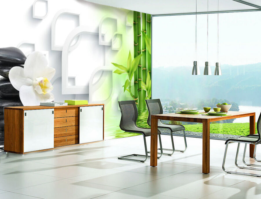 3D Stone, bamboo 2344 Wall Paper Wall Print Decal Wall Deco Indoor Wall Murals