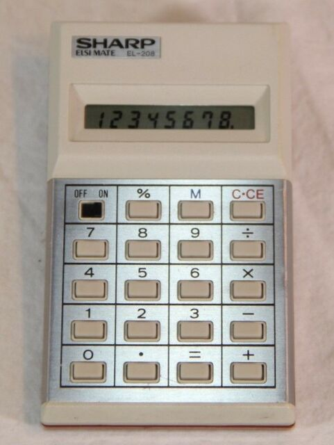 Sharp EL-208 Calculator - Chip in Bottom Case but Still Working Great!