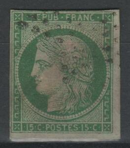 FRANCE-STAMP-TIMBRE-N-2-034-TYPE-CERES-15c-VERT-1850-034-OBLITERE-A-VOIR-N207