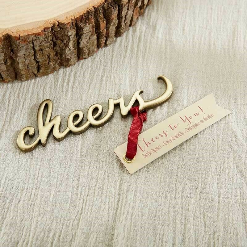 24 Cheers Antique Gold Bottle Opener Wedding Bridal Shower Party Favors