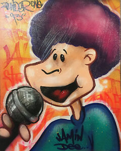 RARE-Original-Graffiti-art-034-Jamin-Dee-034-1993-Canvas-by-LA-Graff-Legend-Zender-One