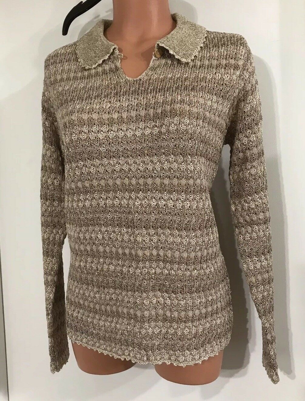 NEW Marisa Studio Sweater gold And Tans Women's Size Med. MSRP  138