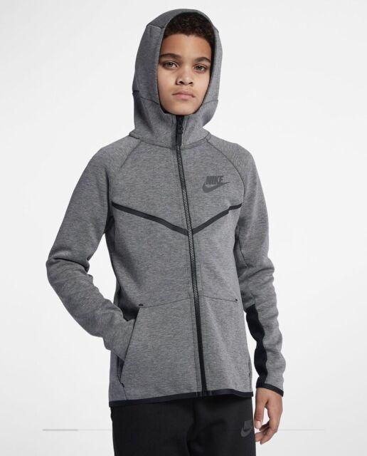 Boys Nike Tech Fleece Hoodie Full Zip Grey Black Pack 856191 091 Sz Small S For Sale Online