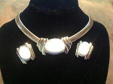 Vintage 1970s-80s Trifari Necklace Earrings Set Cream Goldtone Snake Choker