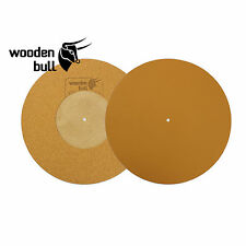 Wooden Bull Leather & Cork Turntable Mat With Recess, Tan