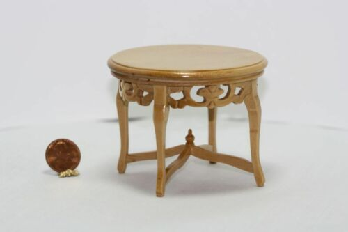 Dollhouse Miniature Hand Carved Round Oak Table