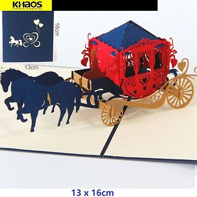 Ships from USA FREE! HelloPopCards 3D Pop Up Greeting Card Horse Carriage