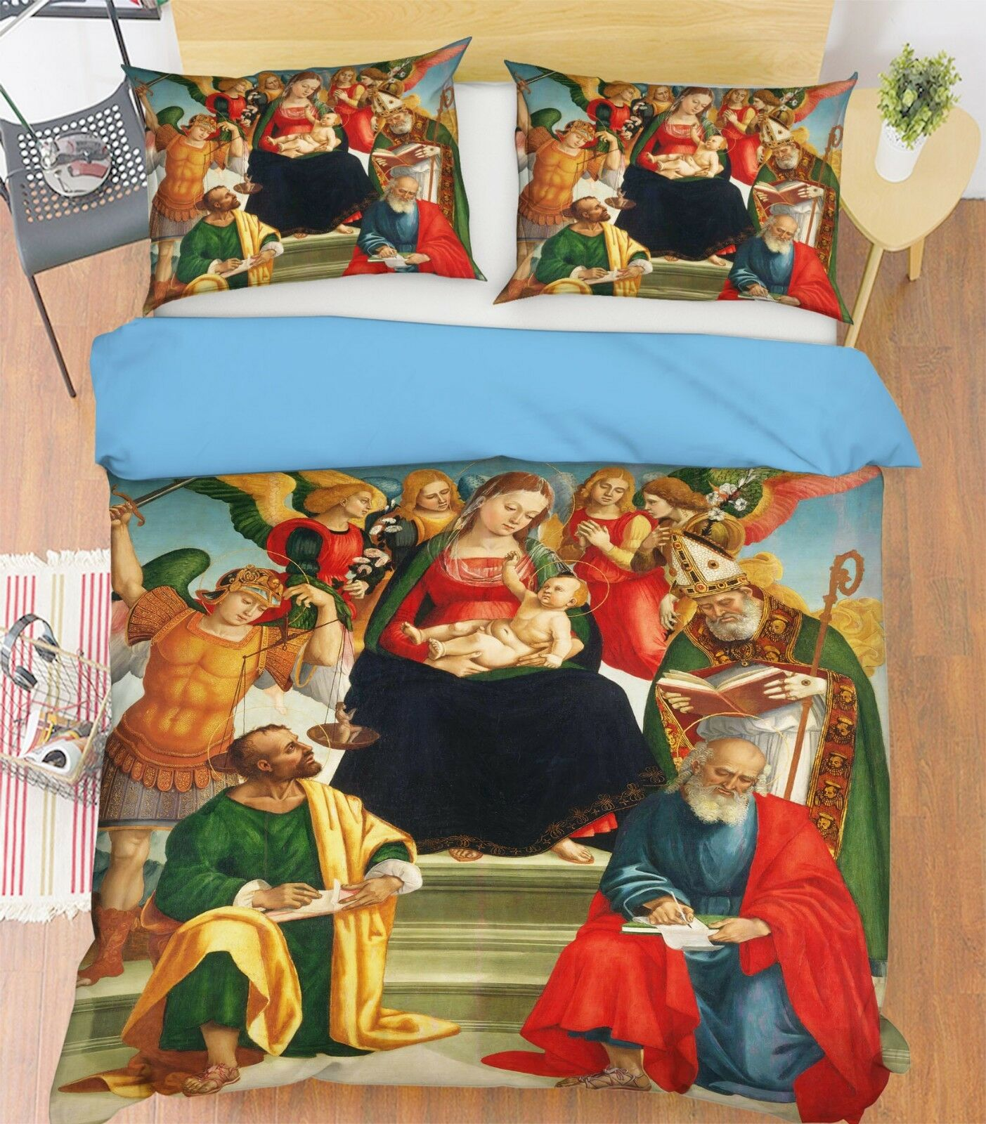 3D Ölgemälde Engel Kunstwerk 4 Bett Kissenbezüge steppen Duvet Decken Set Single