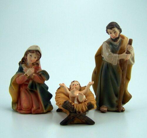 Hl bemalt. Familie aus Polyresin Krippenfiguren Set 3 Tlg 11 cm
