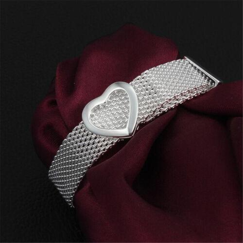 New Fashion Argent Sterling 925 Coeur Forme Main Bracelet Exquis Maille Bijoux