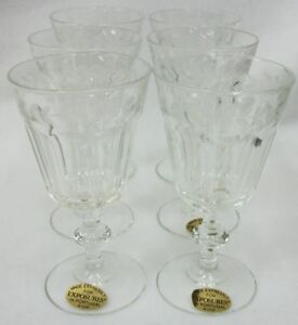 Portugal-Exposures-Elegant-Etched-Stemware-Set-of-6-Glasses-EUC