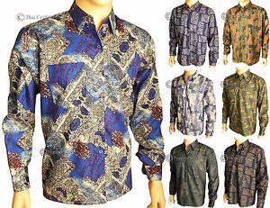 Mens Thai Silk Patterned Shirts Long Sleeve Casual Paisley ...