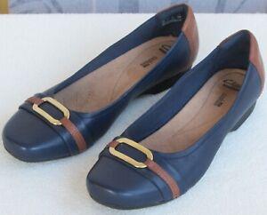 11-Clarks-Blanche-Rosa-Women-Navy-Marine-Leather-Slip-On-Ballet-Flat-Shoe