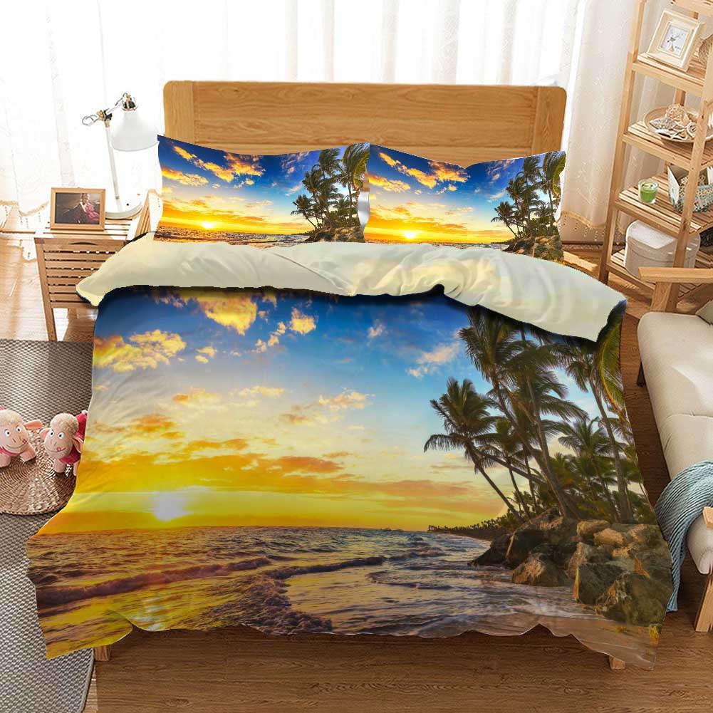 Beach Beat Sunset 3D Printing Duvet Quilt Doona Covers Pillow Case Bedding Sets