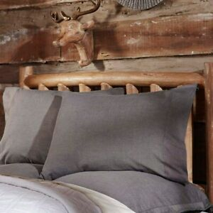 Black-Rustic-Bedding-VHC-Black-Chambray-Pillow-Case-Set-of-2-Caviar-Creme-21x30