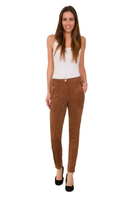 EX MARKS AND SPENCER M&S 1269 PER UNA ROMA RISE FAUX SUEDE SLIM LEG TROUSER