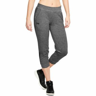 Under Armour UA Ladies Dark Grey Featherweight Fitted Fleece Crop Sports Pants