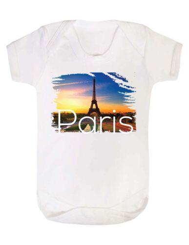 PARIS bebé crezca Traje Chaleco Gracioso Humor Regalo ciudad Francia