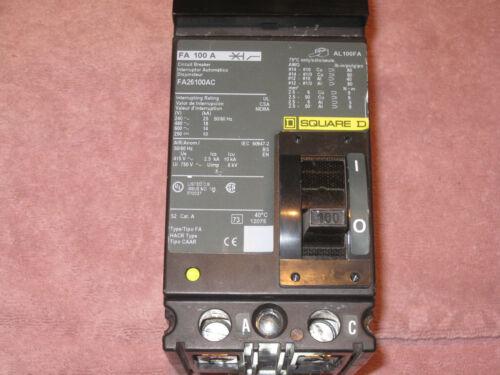 SQUARE D I-LINE MOLDED CASE CIRCUIT BREAKER FA26100AC SERIES 1 600VAC 2 POLES
