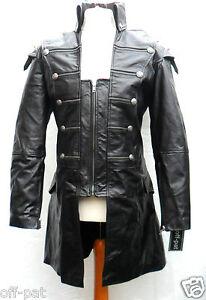 Black-GOTH-LAMBS-LEATHER-COAT-Mans-Rock-Gothic-Steampunk-Punk-Jacket