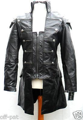 Black GOTH LAMBS LEATHER COAT Mans Rock Gothic Steampunk Punk Jacket