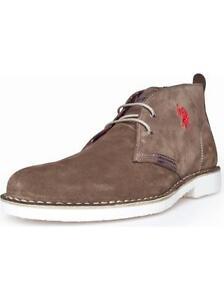 U-S-Polo-Stiefel-Stiefeletten-Boots-Halbschuhe-Schnuerer-EU-42-43-UK-8-9-Leder