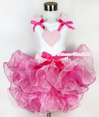 White Pettitop Top in Pink Ruffles Heart and Pink White Pettiskirt Girl Set 1-8Y