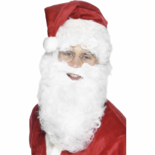 Santa Beard White Curly Christmas Santas Fancy Dress Accessory