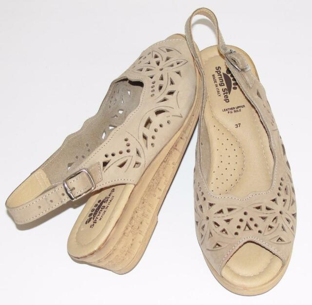 SPRING STEP~NATURAL NUDE~TAUPE~SOFT LEATHER *FLORAL CUT-OUT* WEDGE SANDALS~37