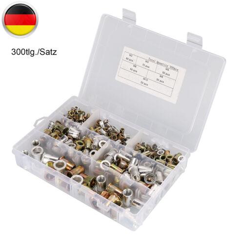 300tlg Stahl//Alu Blindnietmutter M3-M10 Flachkopf Nietmuttern Gewindeniete Box