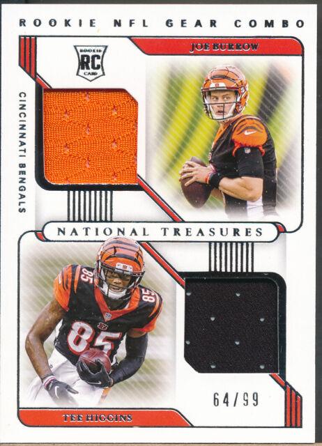 2020 National Treasures NFL Rookie Gear Combo Joe Burrow/Tee Higgins RC Jsy /99