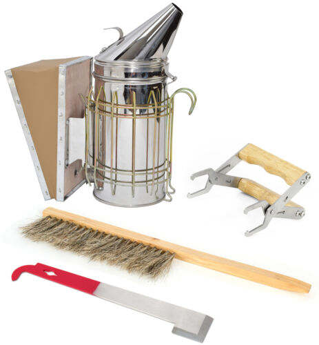 Brush JHook Tool Starter Beekeeping Equipment Kit Frame Holder Bee Smoker