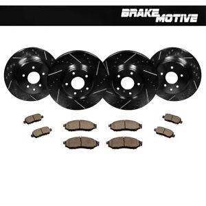 F-R-Black-Drilled-Slotted-Brake-Rotors-amp-Ceramic-Pads-Kit-Fits-Infiniti-Nissan