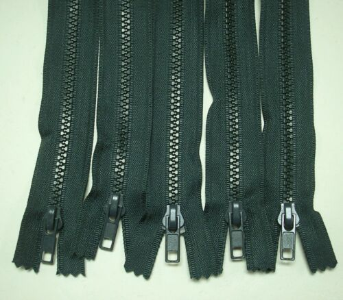 "5-8/"" Pine Green # 5 Closed End Plastic Teeth Zippers Lot #227"