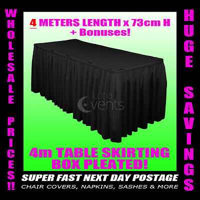 3 Meter Black Table Skirting Skirt Table Cloths Wedding Events Party + BONUSES