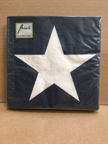 Pack Of 20-3 Ply 33cm x 33cm Star Dark Blue Ambiente Napkins