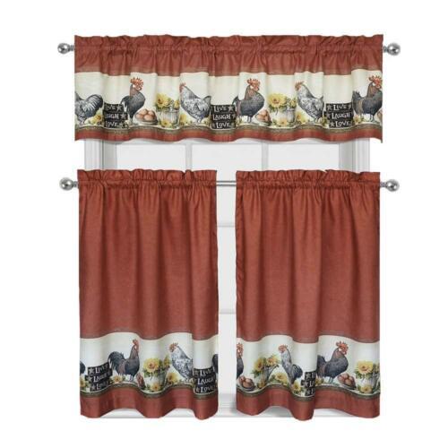 3 Piece Rooster Window Treatment Kitchen Curtain Tier /& Valance Set