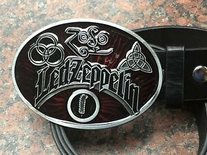 Led-Zeppelin-logo-BUCKLE-FREE-Belt-heavy-metal-rock-band-RED-oval-western-ZoSo