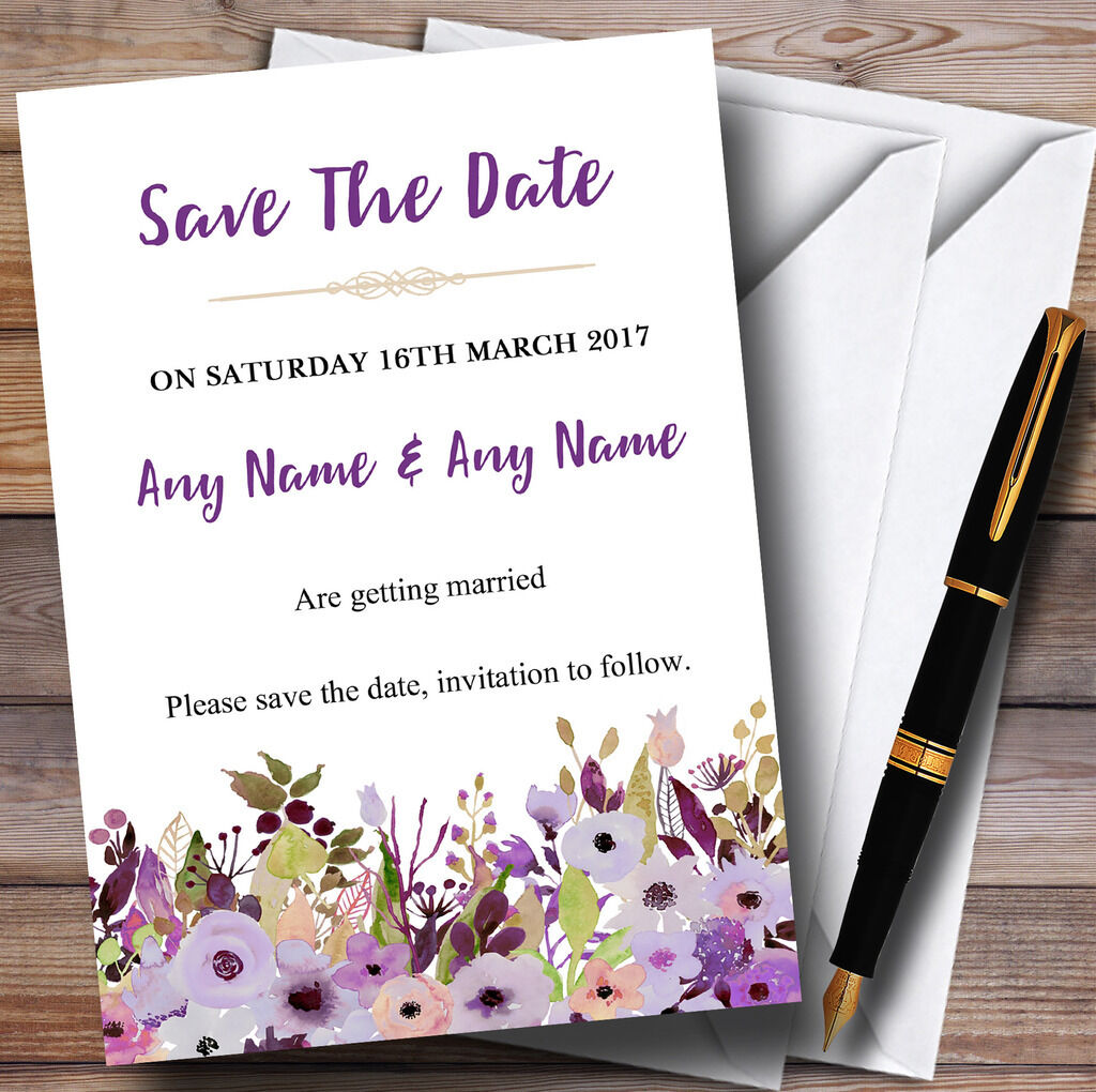 Lilac & lila Peonies Personalised Wedding Save The Date Cards